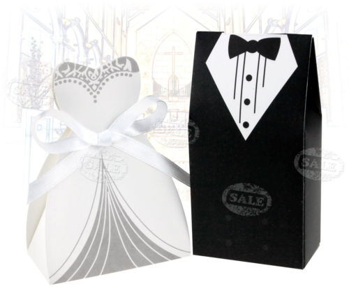 100 PCS DRESS & TUXEDO BRIDE GROOM WEDDING FAVOR RIBBON CANDY BOMBONIERE BOXES