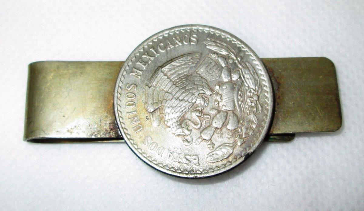 Sterling Silver Un Peso Sterling Silver Money Clip 0.500 Coin 1947 1948 1949 ??