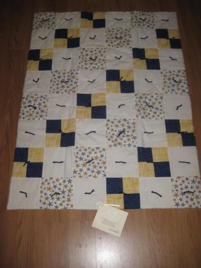 Handmade Quilt Blanket Baby Crib Patchwork Yellow Blue White Stars