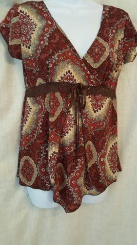 Julie's Closet Maternity blouse size medium multicolor brown lace accents