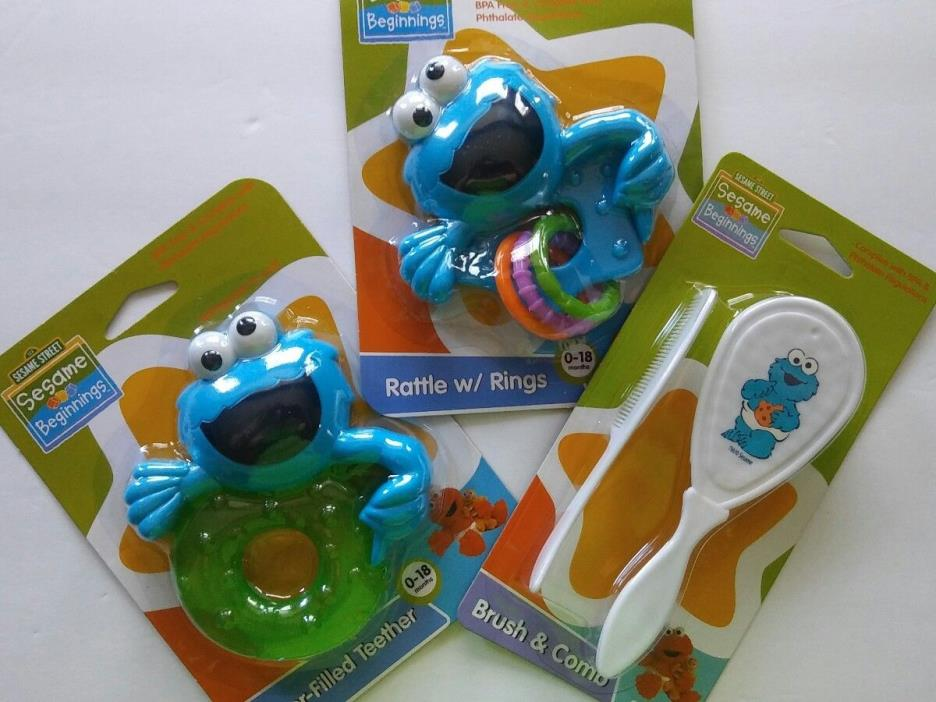 New Sesame Street Cookie Monster Lot of 3 Rattle w/ Rings Teether Brush & Comb
