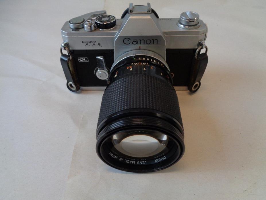 Vintage Canon TL SLR Film Camera w/ 135mm Lens