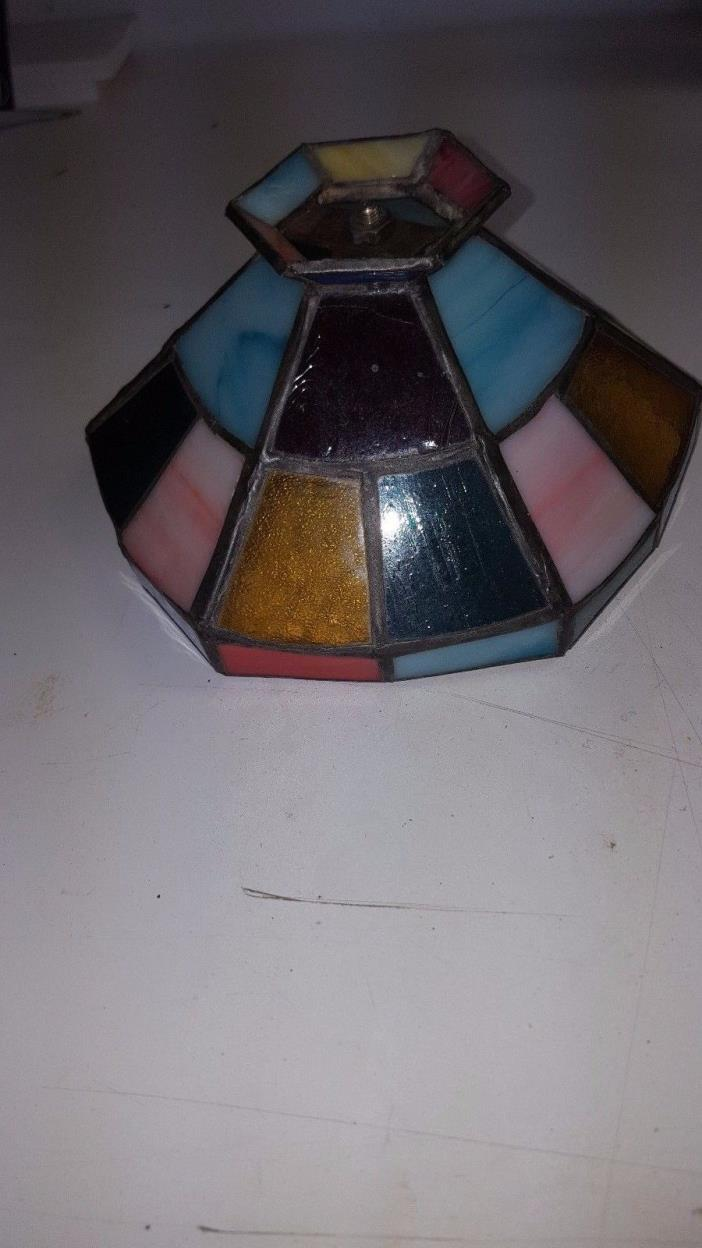 Vintage Tiffany-Style Stained Glass Lamp Shade (1)