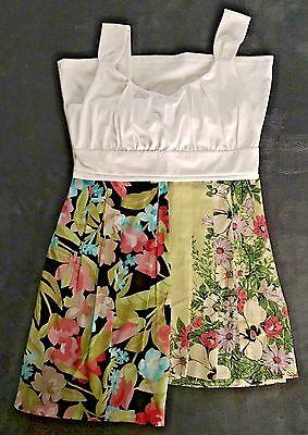 3 pc Lot Ann Taylor White Blouse Top SM 2 Flowered Skirts Loft 6 Talbots 6 P
