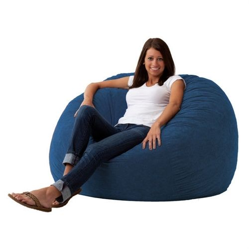 Large 4-Ft Memory Foam Bean Bag Chair in Sky Blue Suede -Made in USA Comfortable