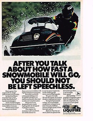 Vintage 1980 JOHN DEERE LIQUIFIRE HIGH PERFORMANCE SNOWMOBILE Original Color Ad