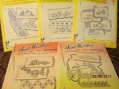 Lot Vtg Aunt Martha's Transfers PILLOW SLIPS embroidery 3696 3678 3717 3728 3565