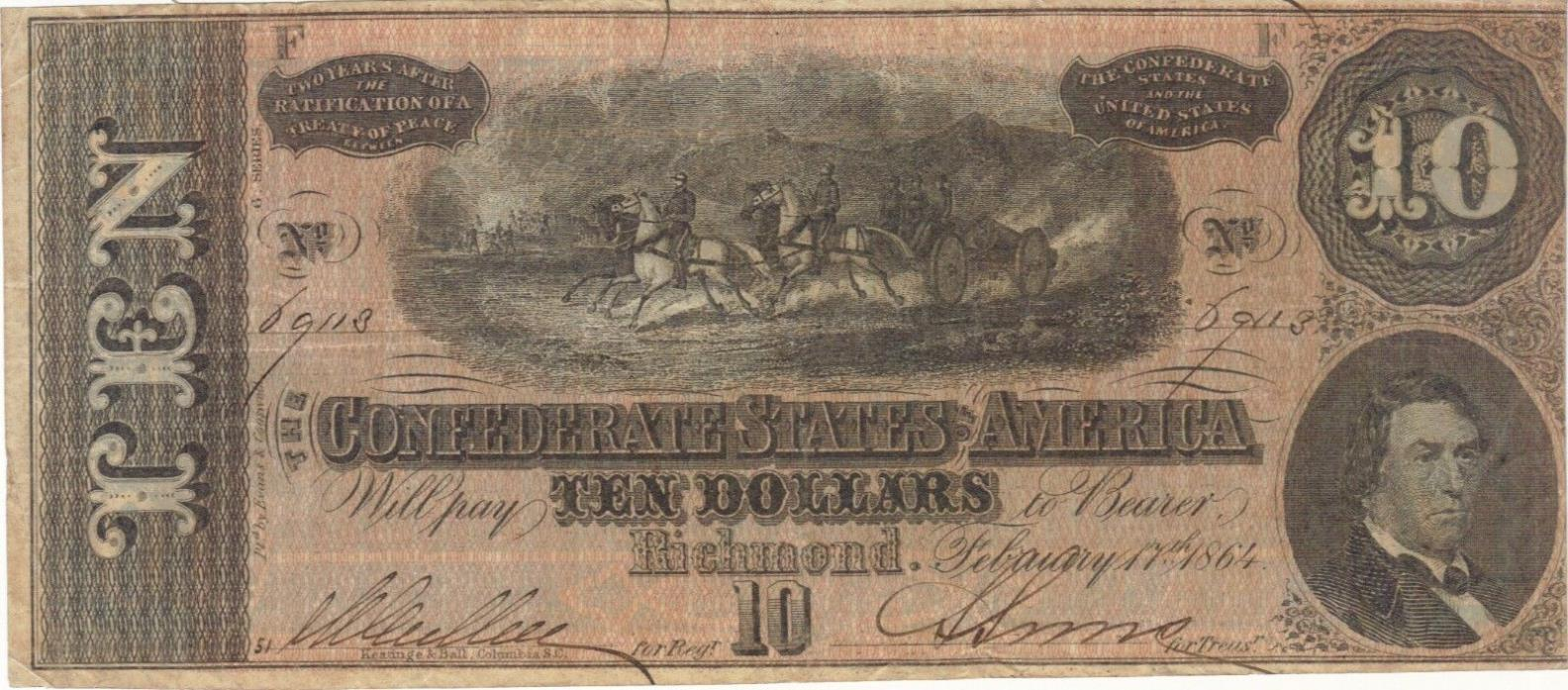 1864 $10 DOLLARS CONFEDERATE CURRENCY BANKNOTE NOTE MONEY BILL CASH CIVIL WAR