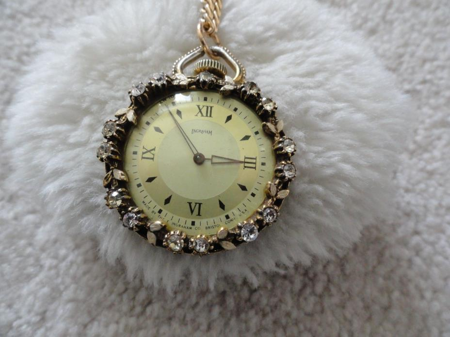 Vintage Made in the USA Ingraham Wind Up Necklace Pendant Watch