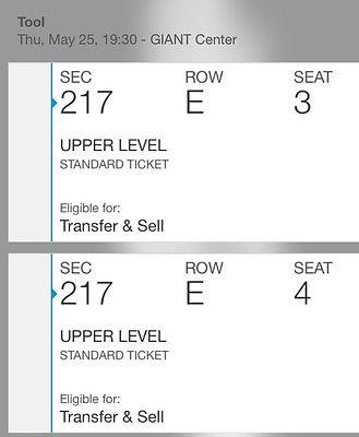 (2) TOOL eTickets, GIANT Center (PA) 5/25 – Sec 217 – Row E – Seats 3 & 4