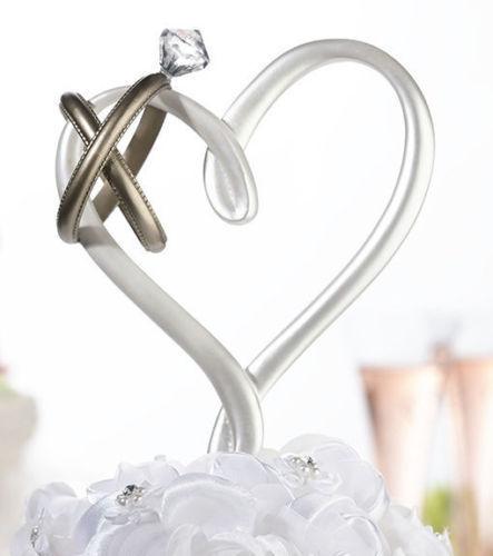 White Heart Gold Rings Wedding Cake Topper Pick Lillian Rose