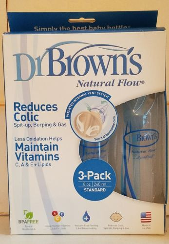 Dr Brown's  Natural Flow 3 Pack Bottles 8oz Reduces Colic New Open Box