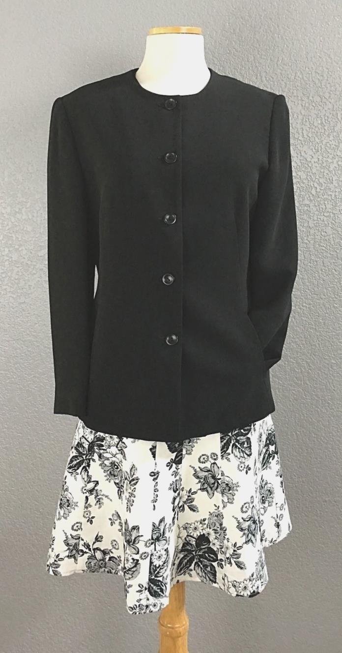 Mix & Match Talbots Blk Blazer SZ 6 Loft B W Flowered Skirt SZ 6 P  Knit Top Sm