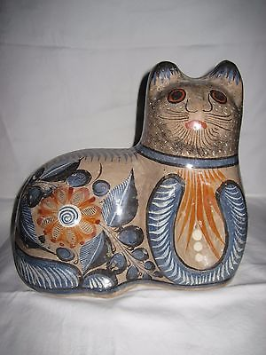 Vintage Large Clay Pottery Cat Figurine