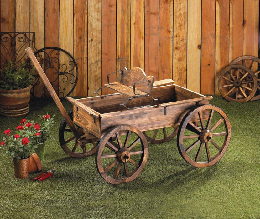 Rustic Wagon Fir Wood Garden Buckboard Rolling Wheels Yard Planter Cart Flowers