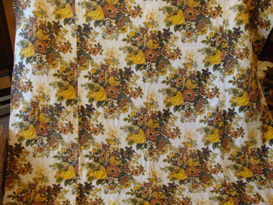 Vtge Flower Twin Floral Retro Mid Century Bedspread Yellow & Brown Cabin Cottage