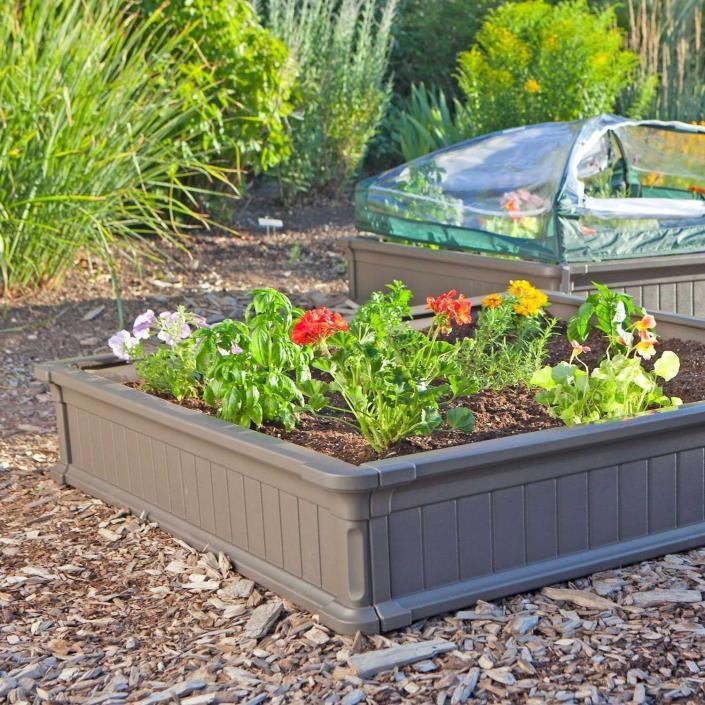 Outdoor Raised Flower Bed Garden Box Portable Stackable Fruit Vegetable Garden