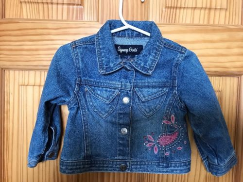 Girls Embroidered Jean Jacket, w/cute Green Paisley Dress