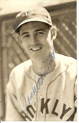 john tom winsett aka jack brooklyn dodgers autograph baseball postcard