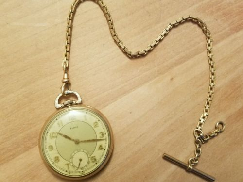 Vintage Laco Elbon pocket watch 10k rolled gold fob Simmons Rare 15j Swiss