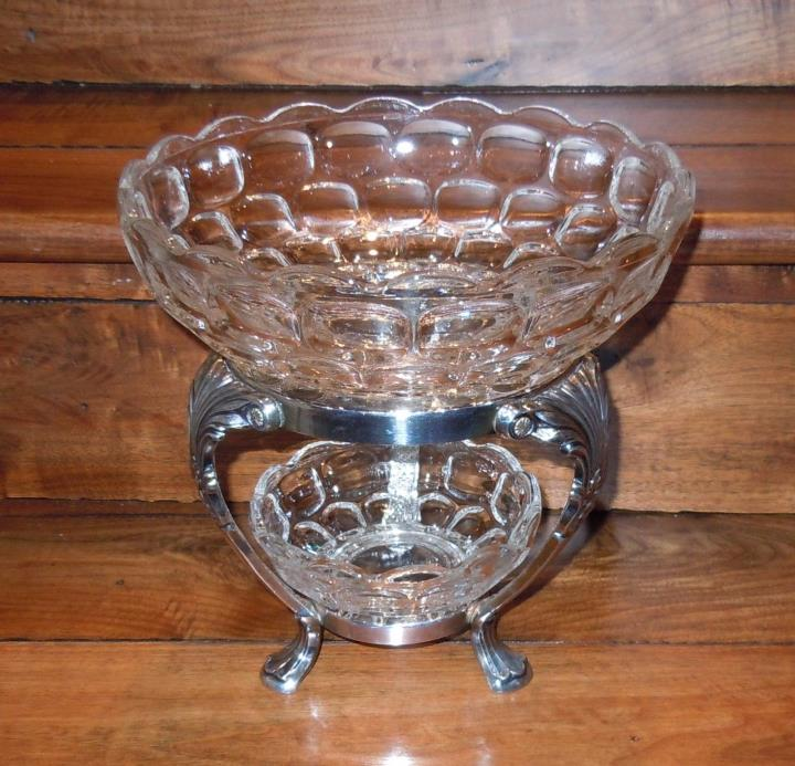 Antique Silver Plated Stand with Federal Yorktown Large & Small Glass Bowls