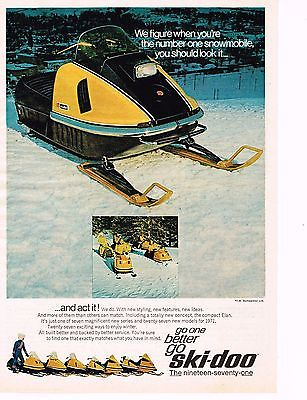 Vintage 1970 SKI-DOO ELAN SNOWMOBILE, Bombardier Ltd. Original Color Ad