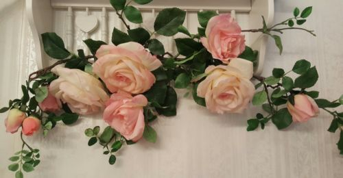 *NWT! Home Interiors Pink White Summer Roses Floral Large Swag Wall Decor 35in*