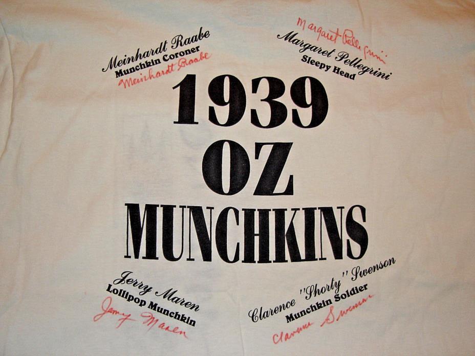 WIZARD OF OZ (4) MUNCHKINS SIGNED T-SHIRT: Swenson - Raabe - Pellegrini - Maren