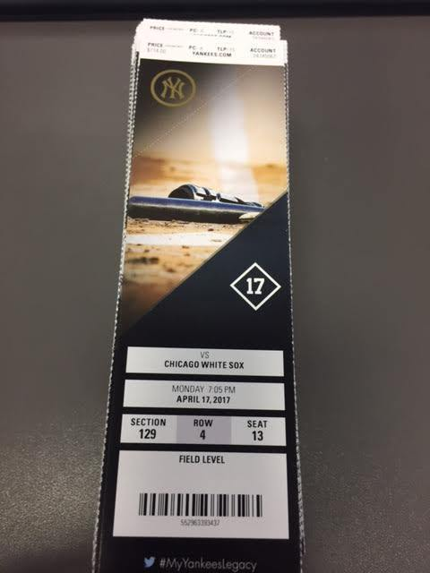Montgomery 1st MLB Win NY Yankees White Sox MINT Season Ticket 4/17/17 2017 Stub