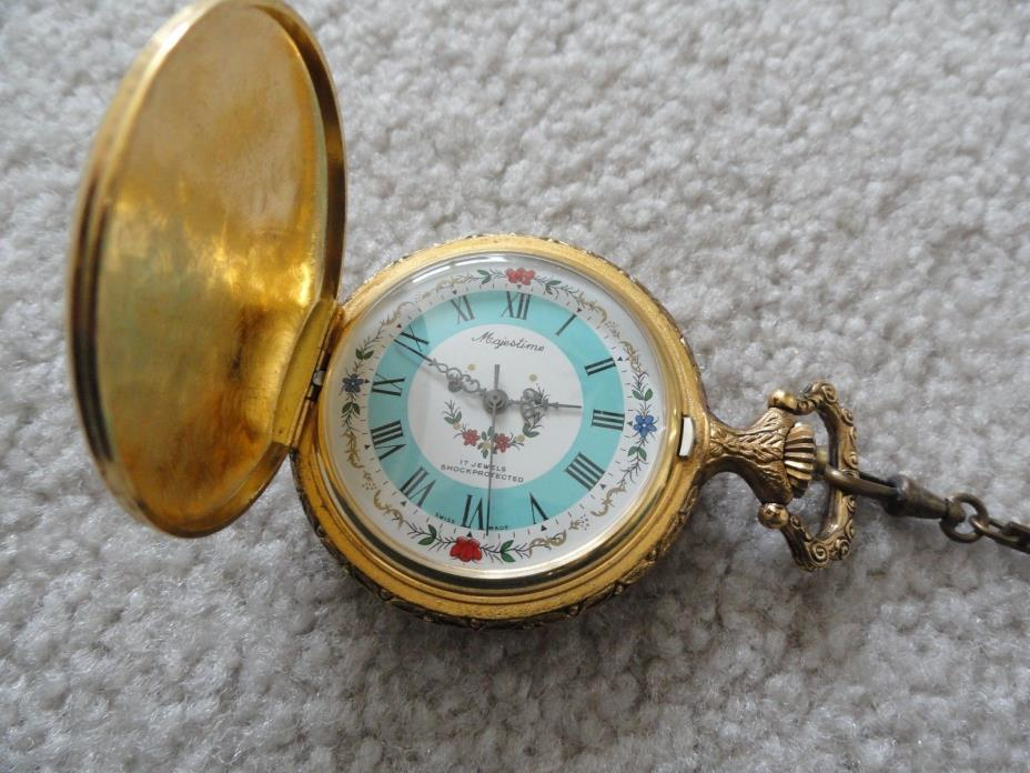 Swiss Made Majestime 17 Jewels Shock Protected Wind Up Pocket Watch