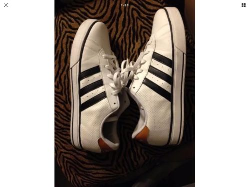 Women's Sz 11½ Adidas Rockstar Neo Navy Stripe Tan Trim Walking Shoe vibetou