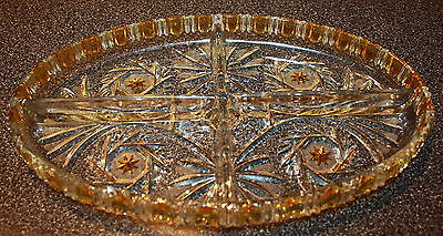 Oval Four-sectioned Dish Yellow & Clear Glass  Etched
