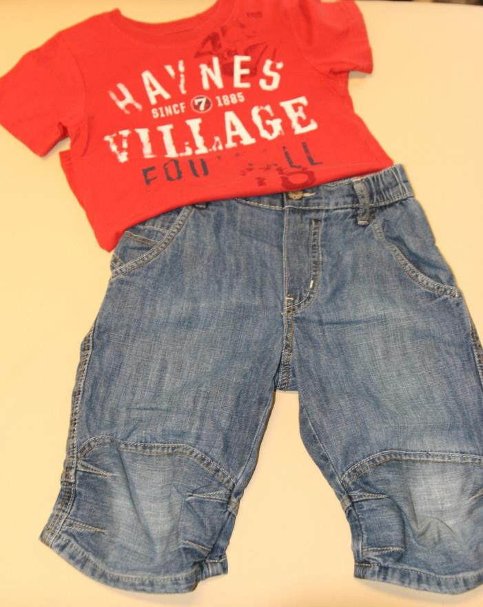 H&M Toddler Boys Red T-Shirt 4-6yr /Blue Jean Short 5-6yr set