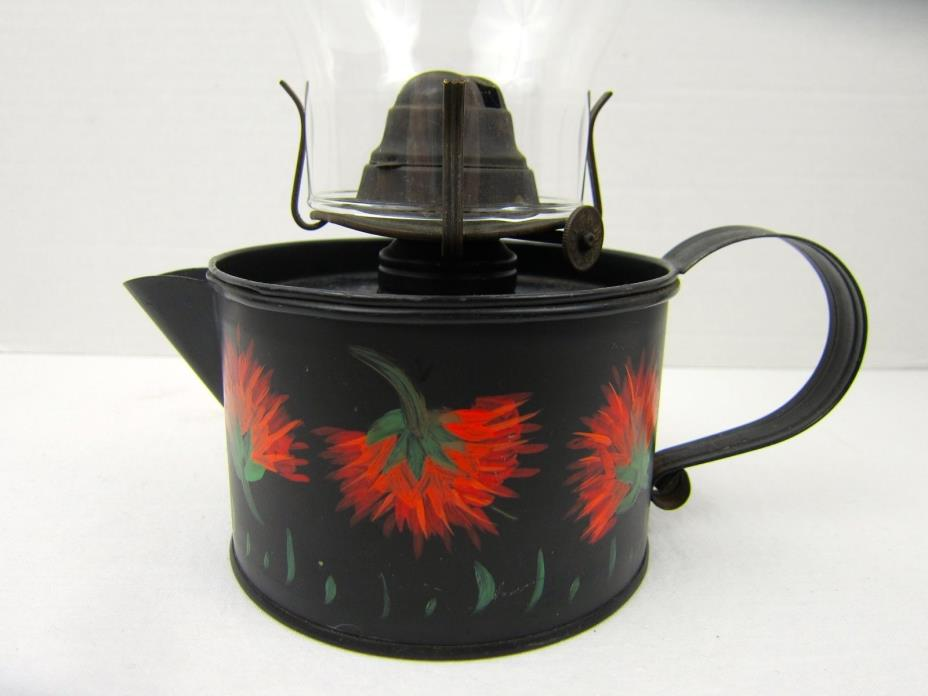 Vintage Black Metal Oil Lamp Teapot Shaped Hand Painted Red Floral Chamber Lamp