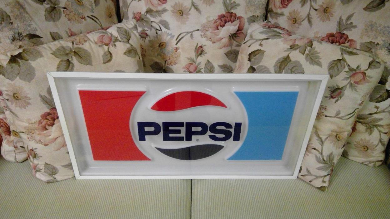 Vintage PEPSI COLA Vending Machine SIGN (1970's) Advertising Sign