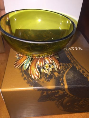 Jay Strongwater Footed Enamel And Glass Bowl