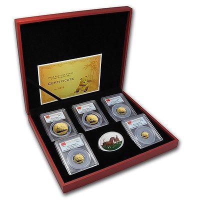 2014 Prestige Panda First Strike 6 Coin Set 1.9 OZ Pure Gold PCGS MS69