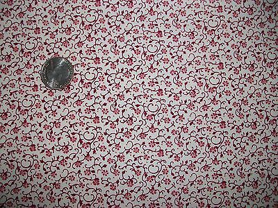 Vintage Cotton Calico Quilt Fabric Flower Vine Bud on White Pattern BTHY