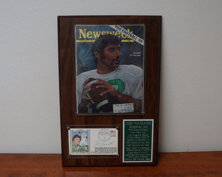 Joe Namath Plaque Signed with (COA) Hall of Fame Card and Newsweek Magazine