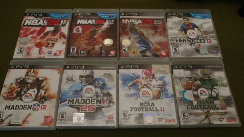 PS3 Game Lot of 8 Sport Games: NCAA & Madden Football, NBA 2K Basketball & FIFA