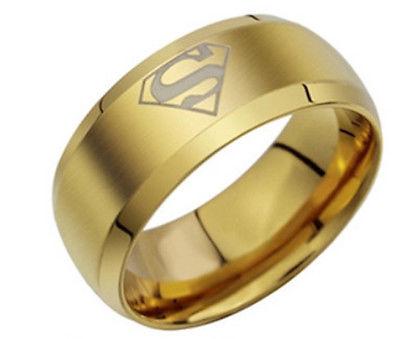Gold Superman Ring, Superhero Ring, Men's Ring, Ring for Men, Gift for Him