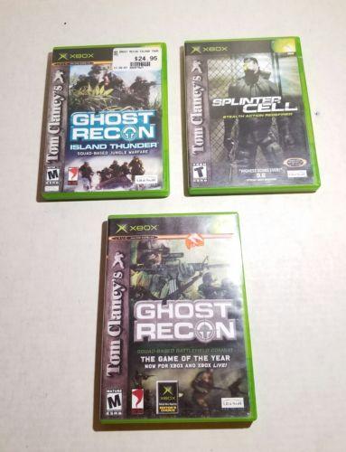 Lot of 3 Original Xbox Games Tom Clancy Splinter Cell Ghost Recon Island Thunder