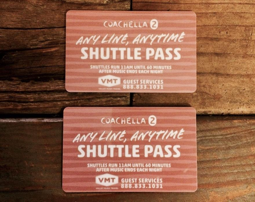 Coachella Weekend 2 Shuttle Passes x2 (SELLING @ PASSES AS A PAIR)