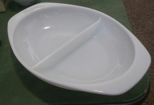 Vintage PYREX White Divided Oval Casserole Dish