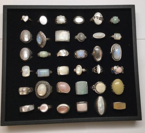 Lot Of 36 Sterling Silver Rings With White Iridescent Stones, Assorted