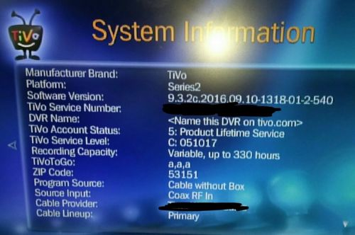 Tivo Series 2 With Product Lifetime Service Records 330 Hours«W/WIFI Adapter»