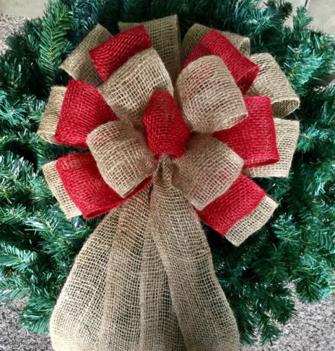 Rustic Natural & Red Burlap 12