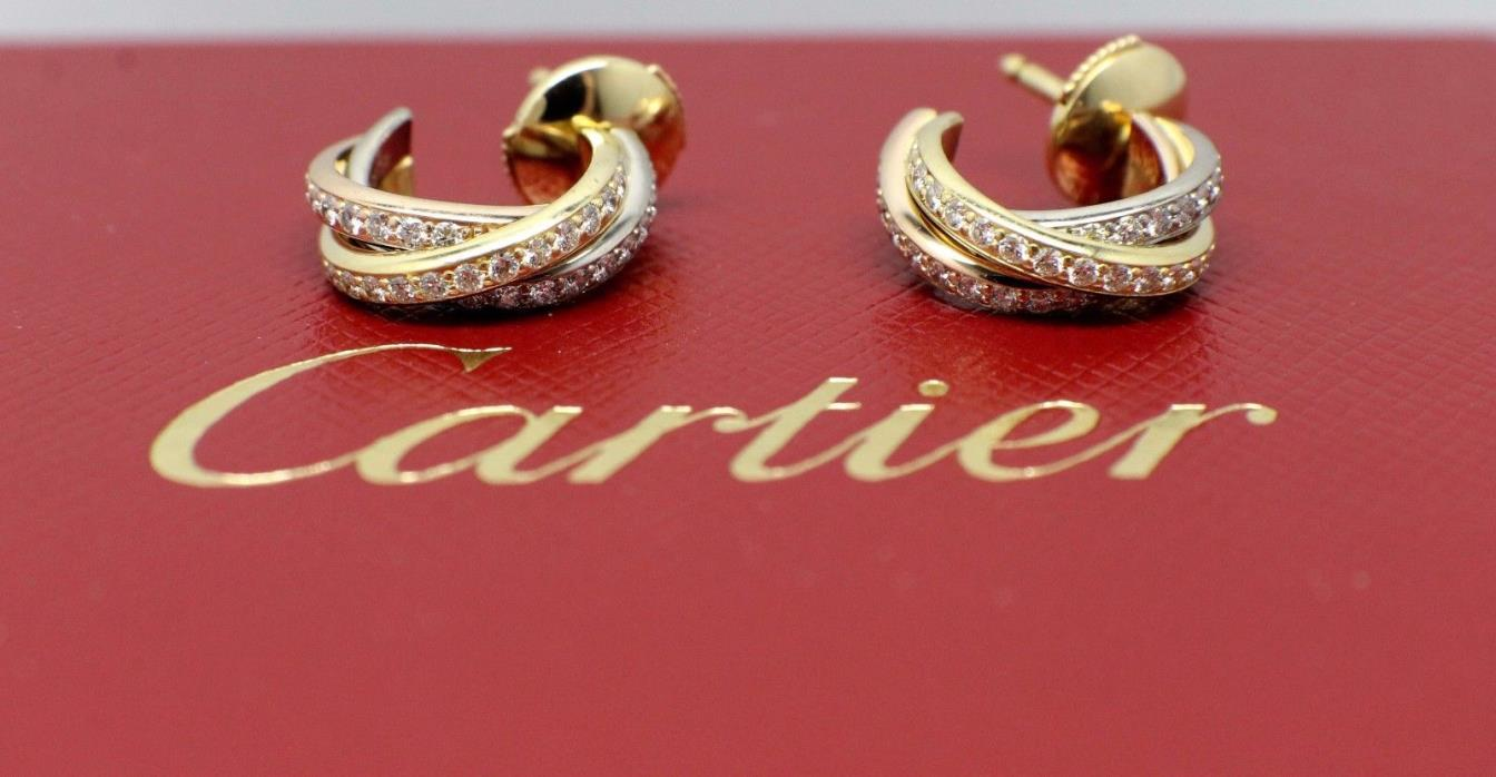 CARTIER TRINITY DIAMOND PAVE TRICOLOR SMALL GOLD EARRINGS