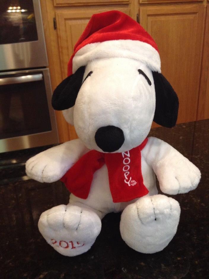 Peanuts Snoopy Santa Hat Scarf Musical Plush 2015