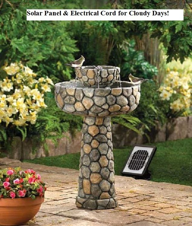 Solar Water Fountain Rustic Faux Cobblestone Submersible Pump Solar Panel ElecCd